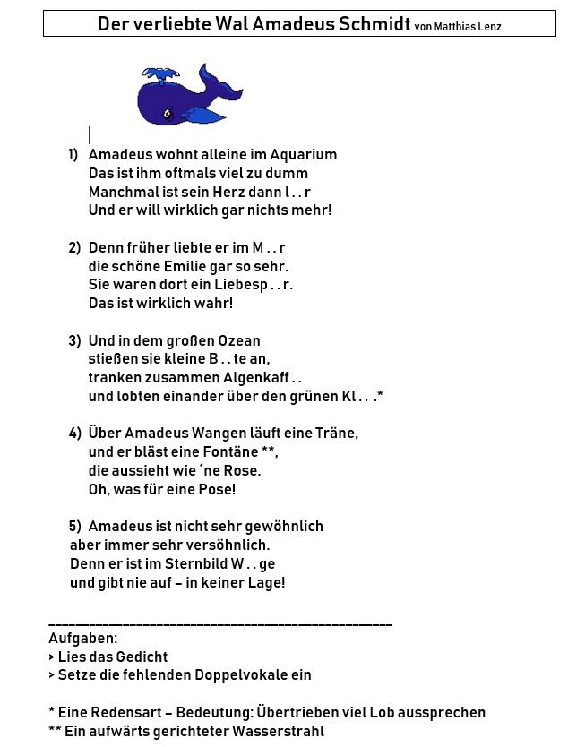1doppelvokal Wal Gedicht Wale Lernbuffet Zum Thema Wale